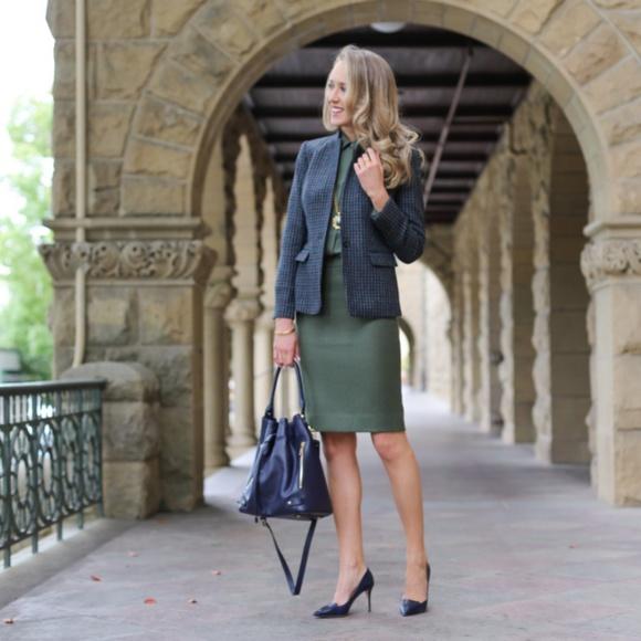 J. Crew Dresses & Skirts - J. Crew No. 2 Pencil Skirt in Green Wool 2P